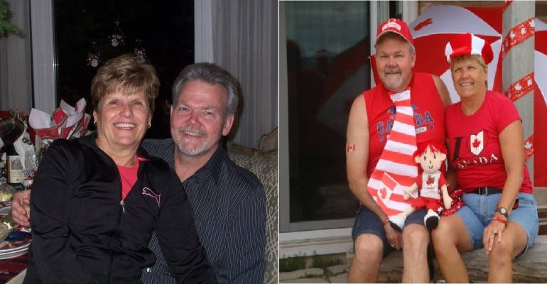 Cathy and Jim before and after